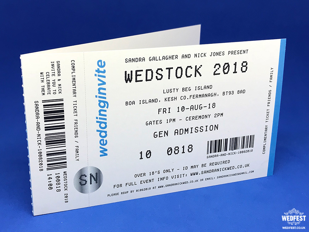 ticketmaster style concert ticket wedding invitation
