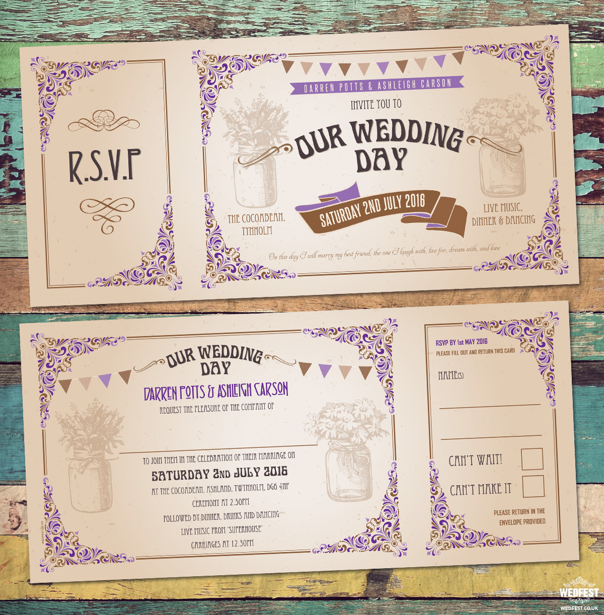 Vintage Festival Ticket Wedding Invitations | WEDFEST