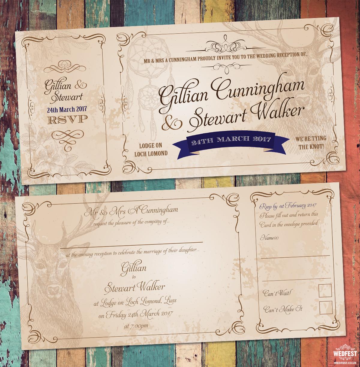 Vintage Ticket Style Wedding Invites
