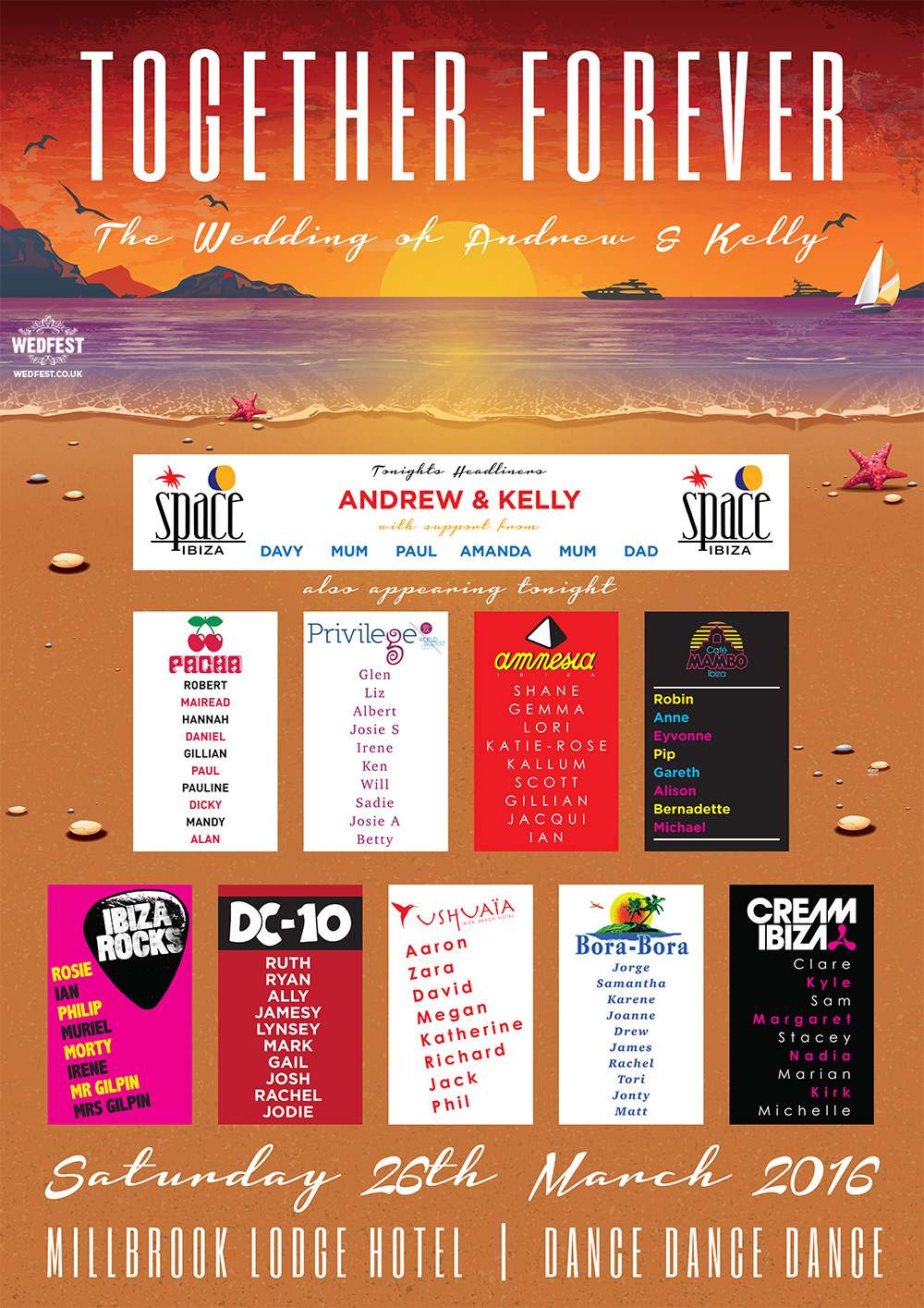 ibiza themed wedding stationery table seating plan chart