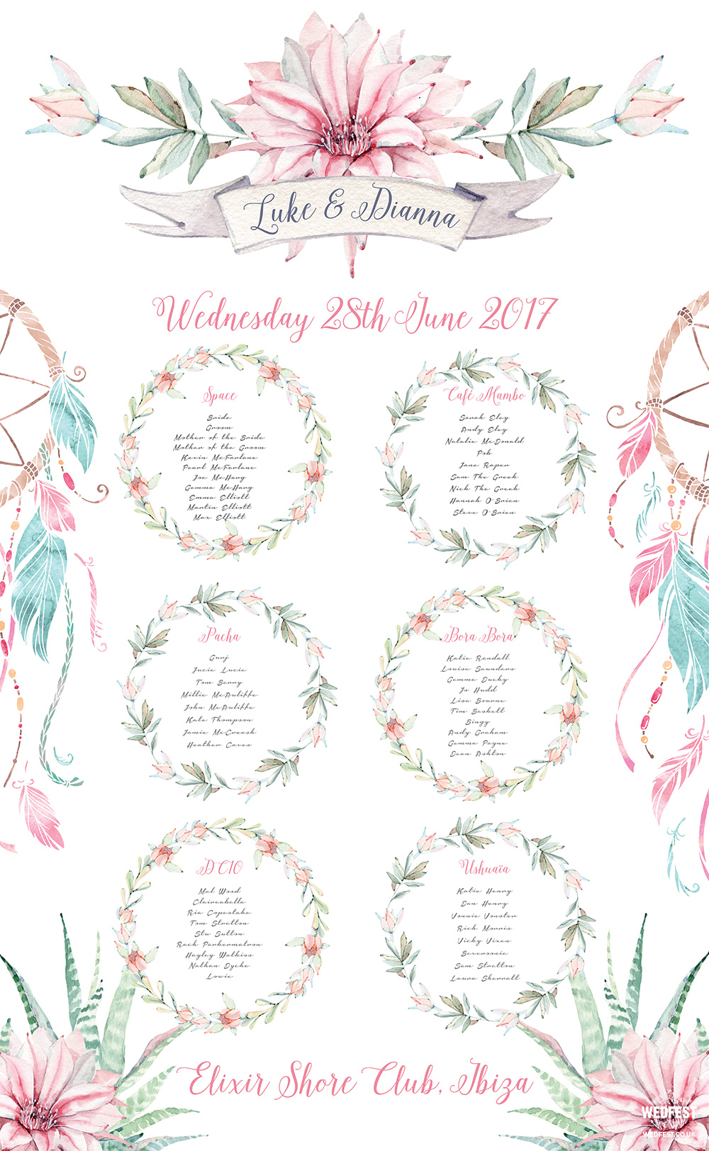 ibiza wedding elixir shore club wedding seating table plan
