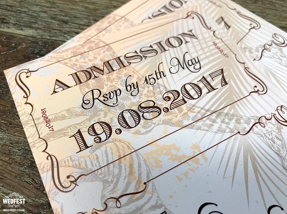 london zoo animals vintage chic ticket wedding invite