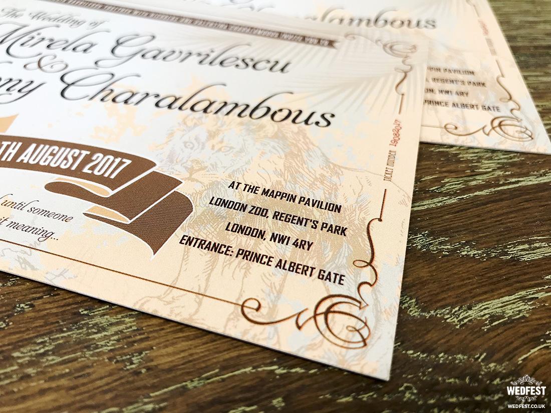 london zoo wedding invitations