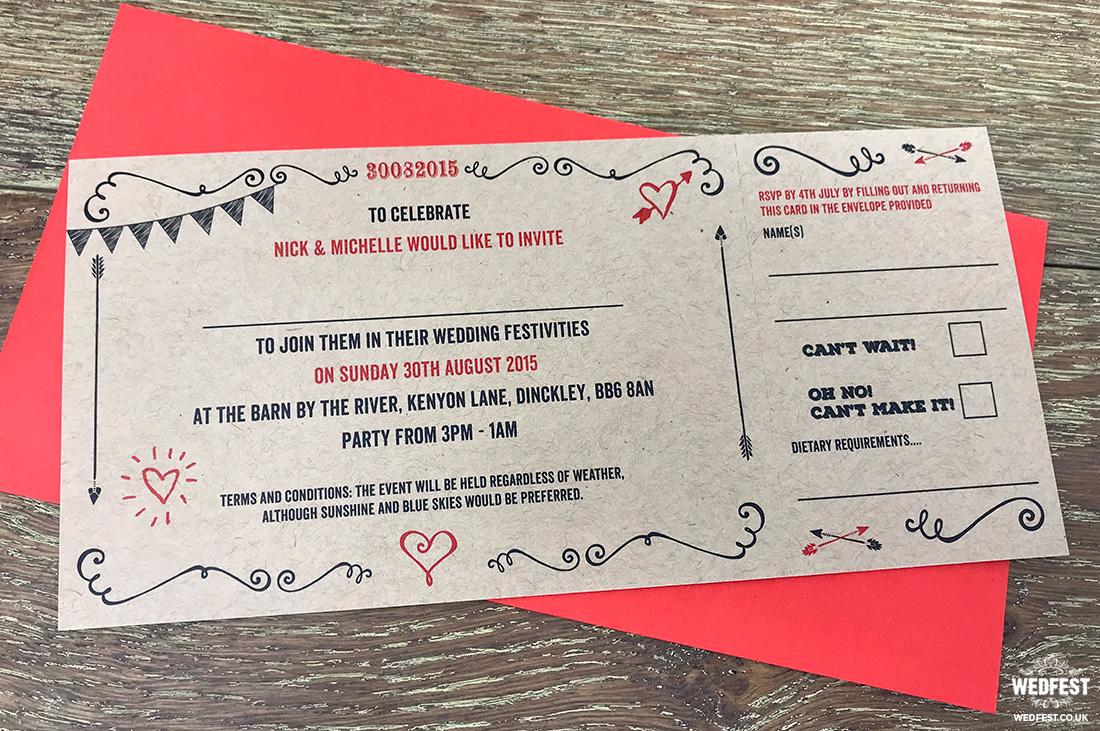 shabby chic kraft card wedding invite