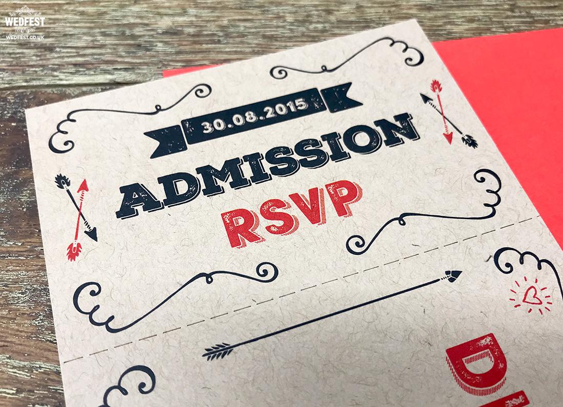 vintage kraft wedding ticket invitations