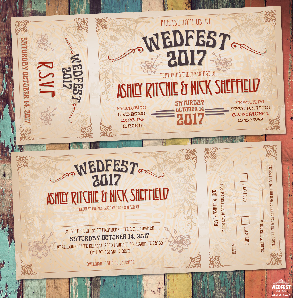 wedfest vintage festival ticket-wedding invitation