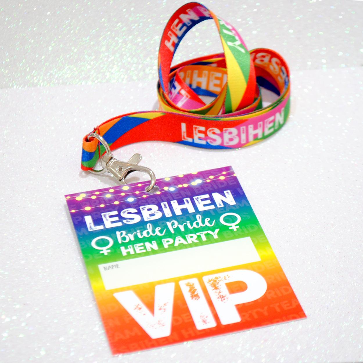 lesbihen lesbian hen party vip pass lanyards