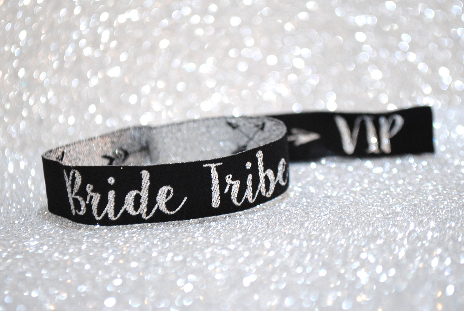 silver glitter bride tribe hen party wristbands