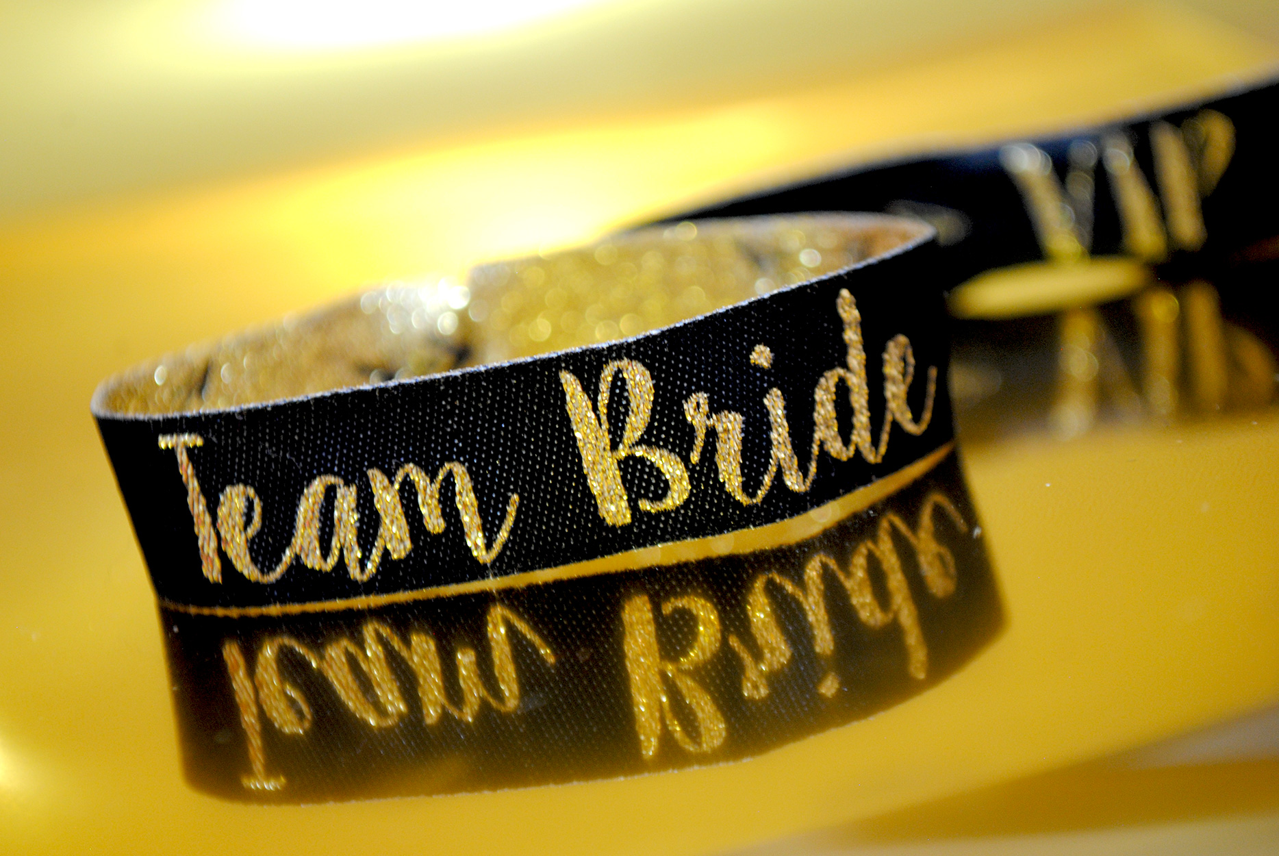 team bride black gold hen party wristbands