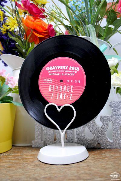 custom wedding centrepieces vinyl records