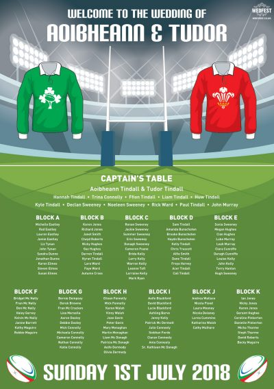 rugby wedding table seating plan planner chart