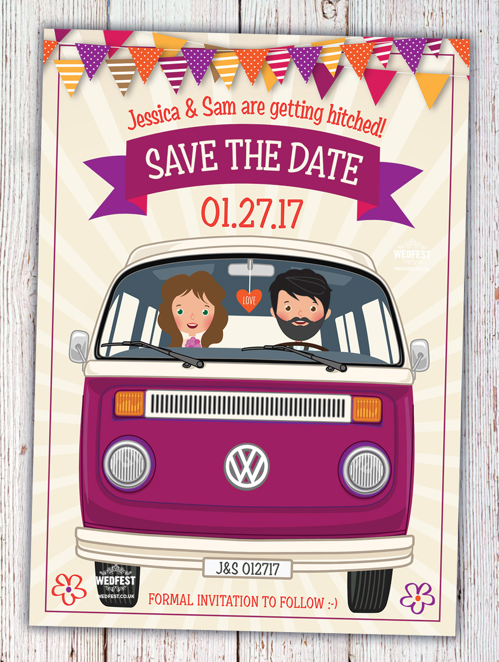 vw camper van festival wedding save the date cards