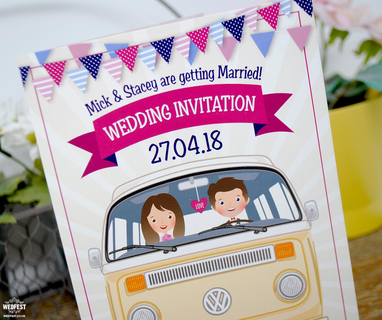 vw van camper wedding invitation