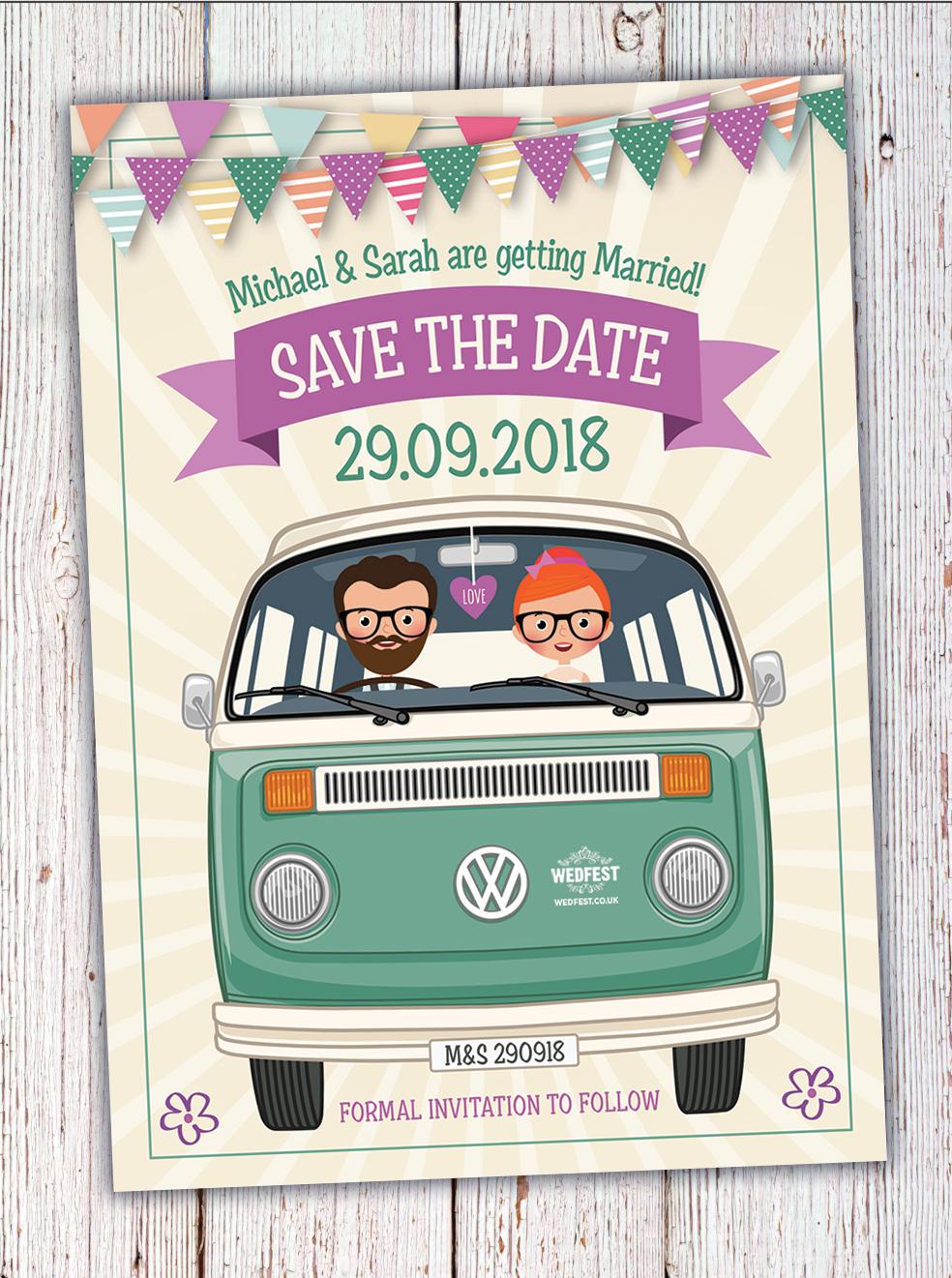 vw van caricature wedding save the date invites