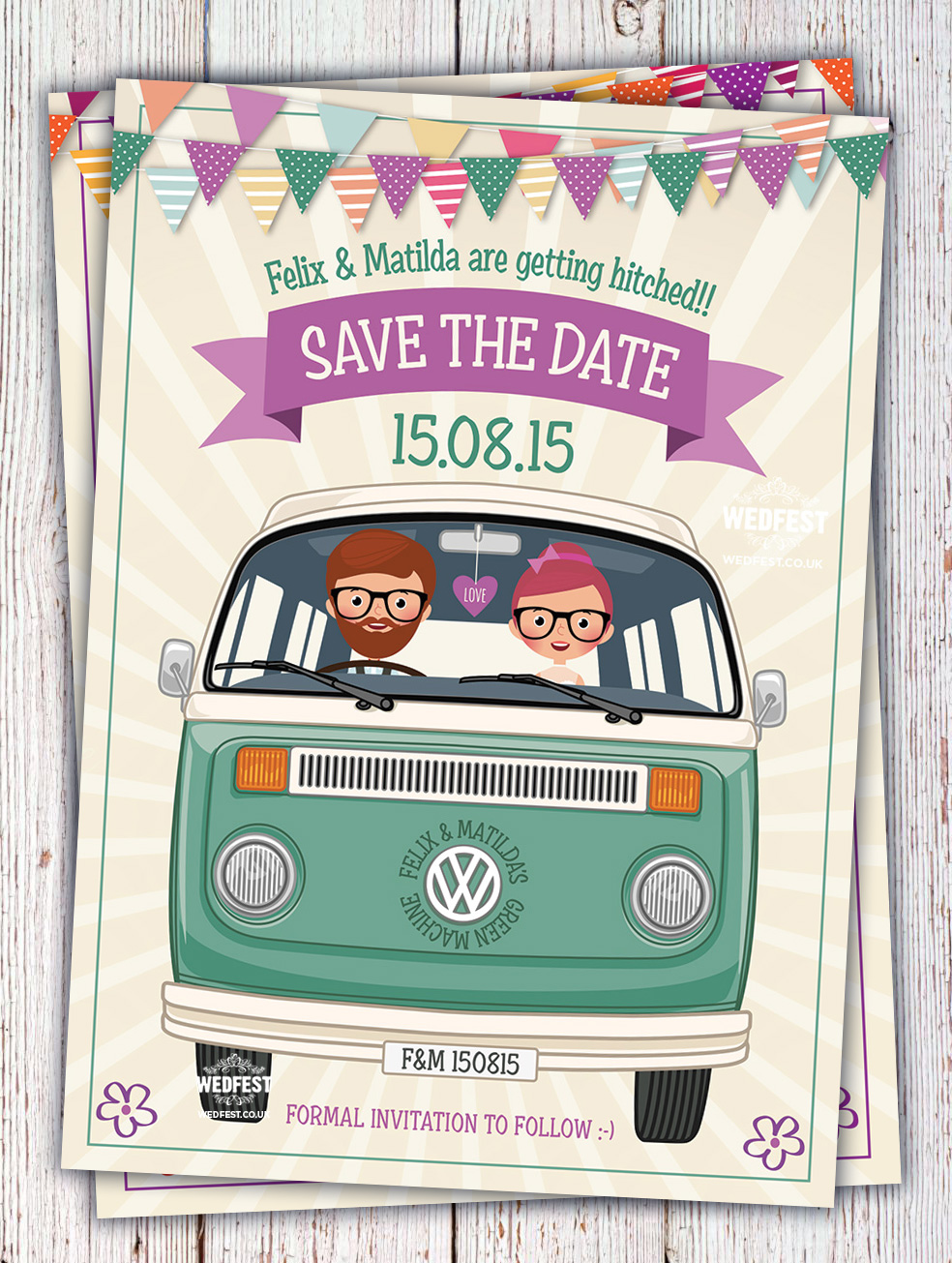 vw van wedding invitation save the date cards