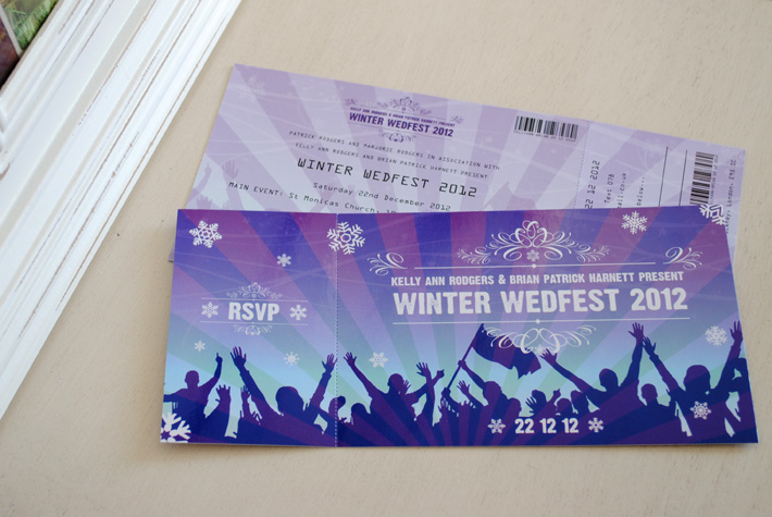 festival ticket themed wedding invitations wedfest