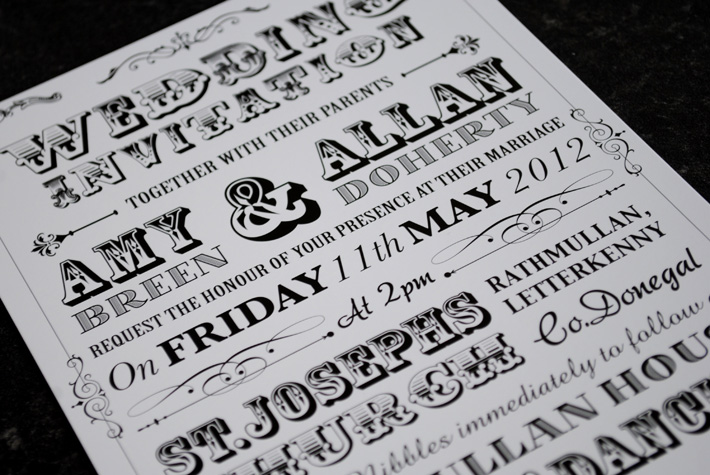vintage festival poster style wedding invitations | wedfest