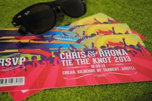 festival concert ticket wedding invites