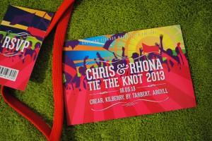 music festival ticket theme wedding invites
