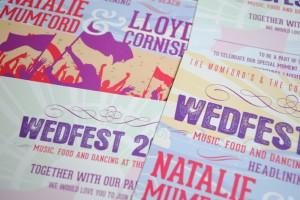 beach festival themed wedding invites