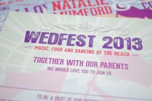 beach festival wedding invitations