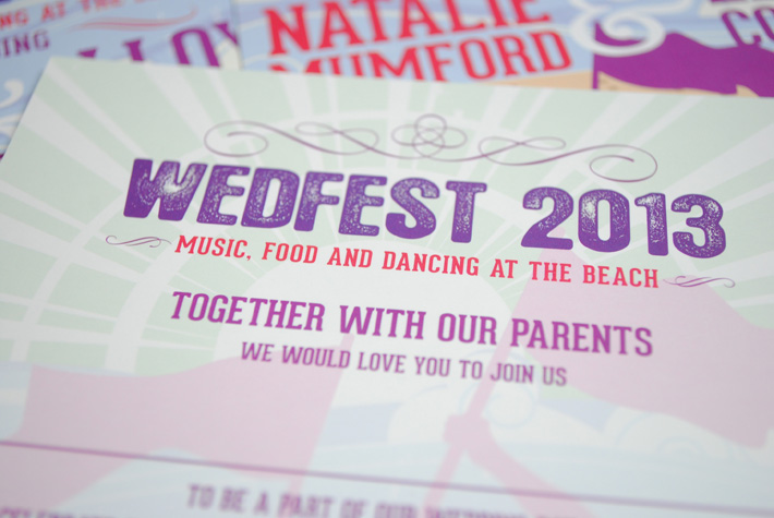 wedfest beach festival wedding invitations