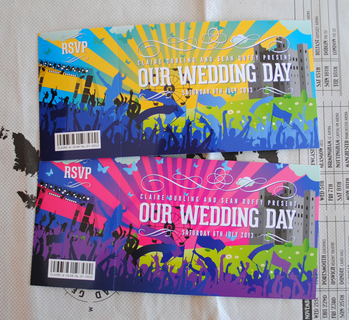 festival gig ticket wedding invites