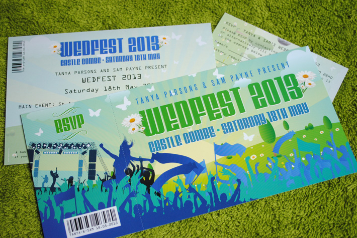 festival ticket wedding invitation