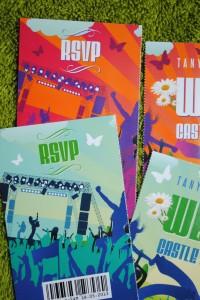 perforated ticket stub wedding invitation