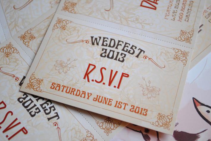 art deco wedding festival invitations
