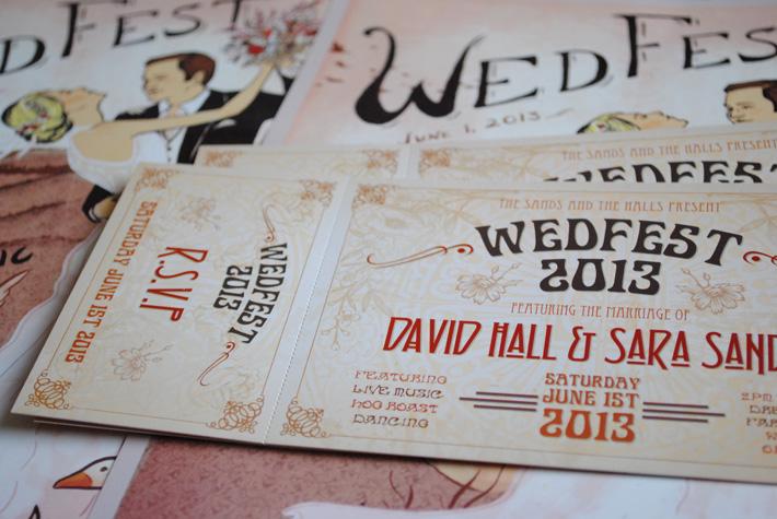 art deco wedfest wedding invites