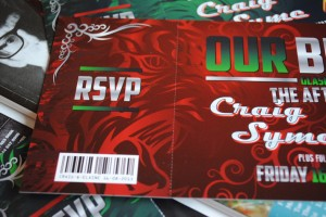 rock n roll concert ticket wedding invitations