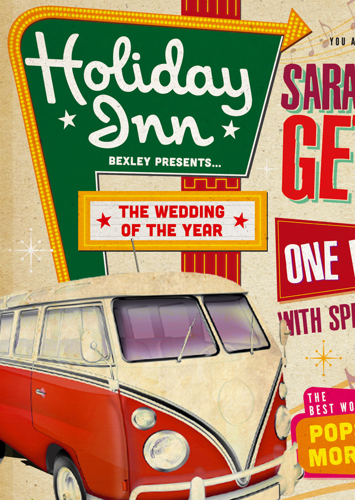 60s vintage Poster Wedding Invitations