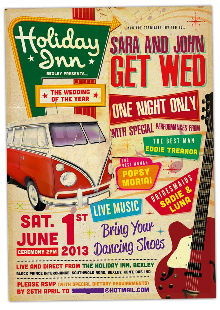 concert poster wedding invitations wedfest
