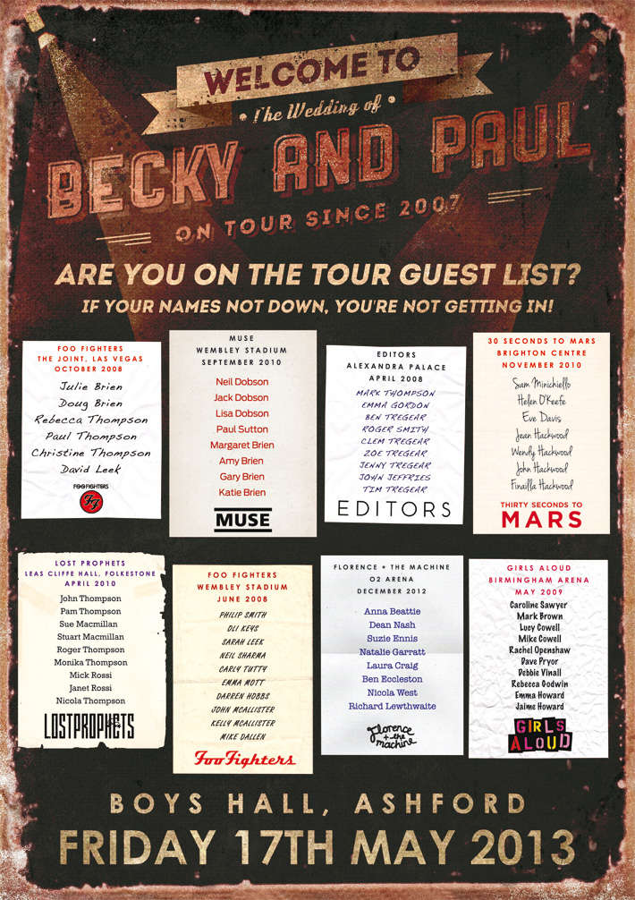 Concert Tour Wedding Poster Guest List Seating Plan