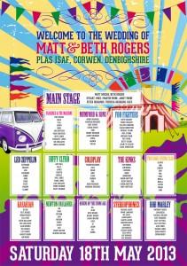 festival poster bunting vw campervan wedding table seating plan