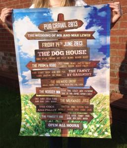 pub crawl wedding festival table plan