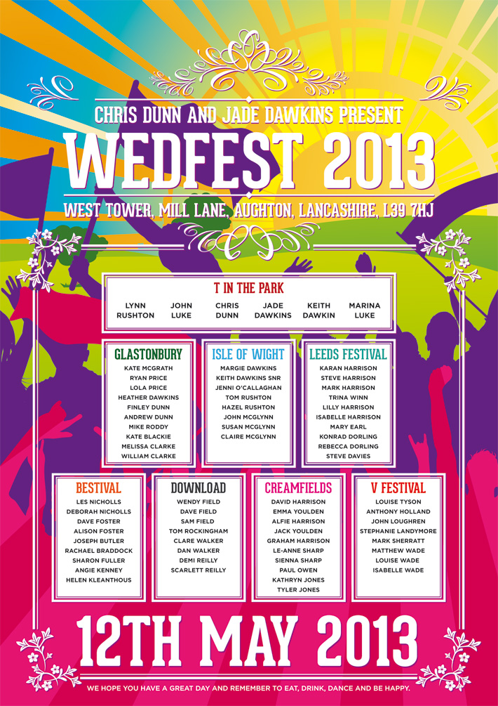 wedfest festival names poster wedding seating plan poster