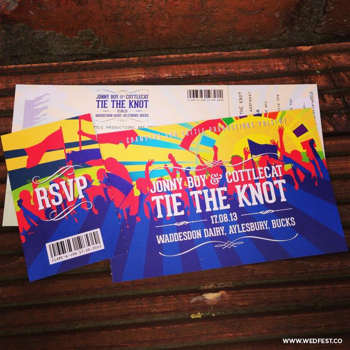 festival ticket wedding invites