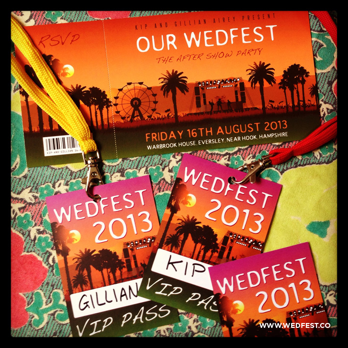 summer festival themed wedding invites