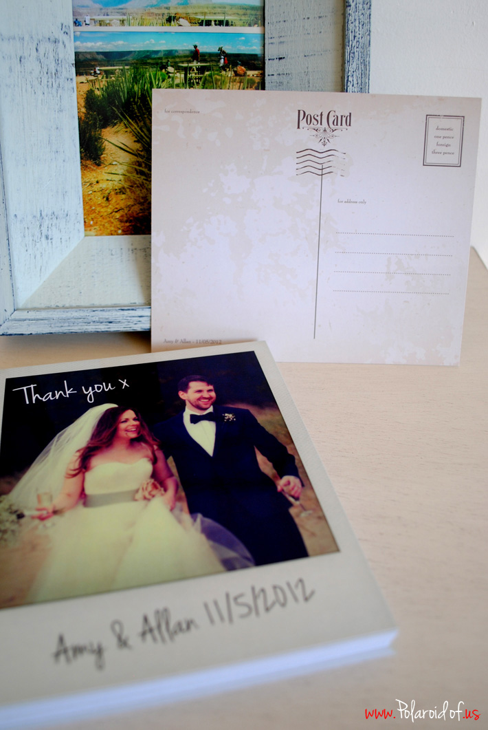 Personalised Polaroids wedding thank you notes