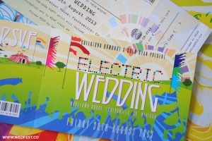 electric picnic themed wedding invites