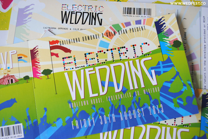 electric picnic festival wedding invitation ireland