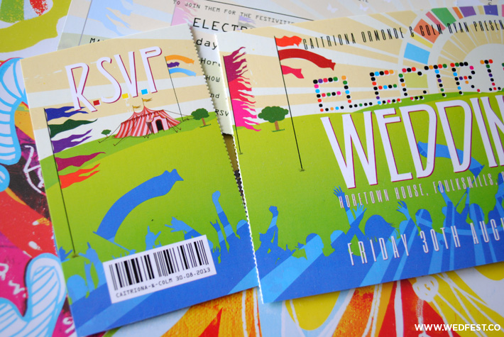 electric picnic festival wedding invitations