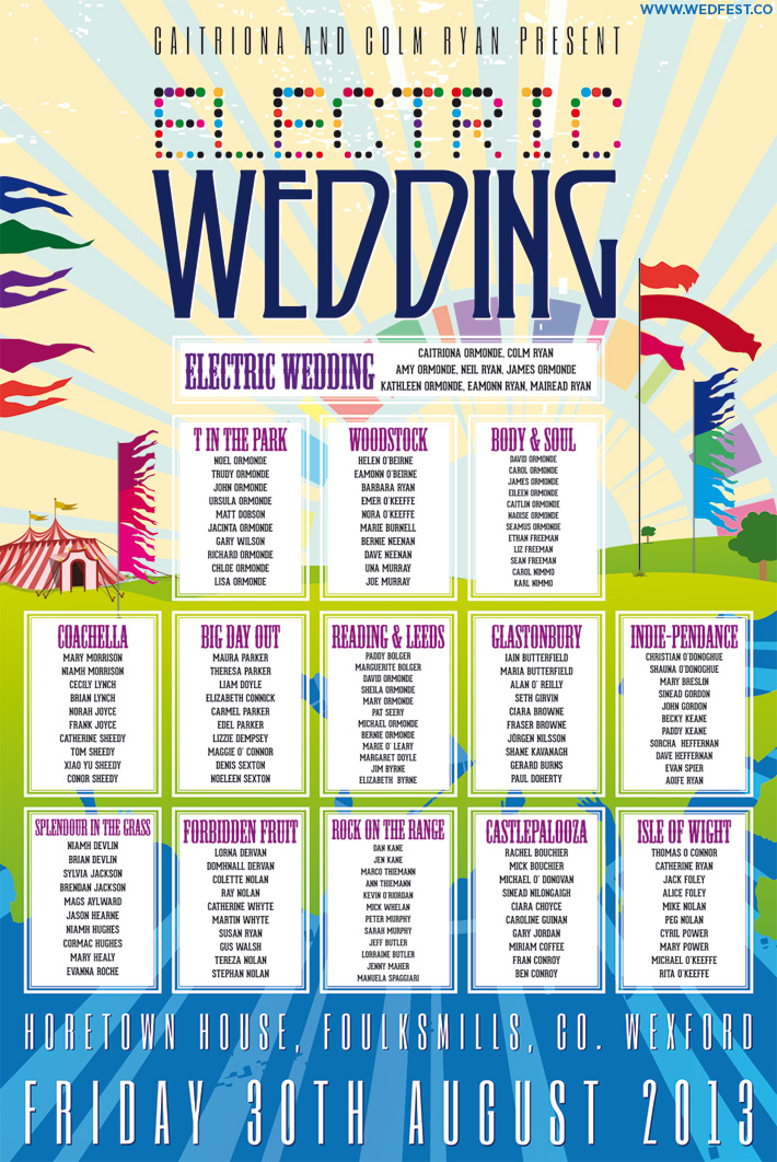 electric picnic festival wedding table seating plan