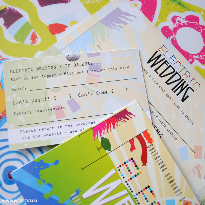 electric wedding festival wedding invites