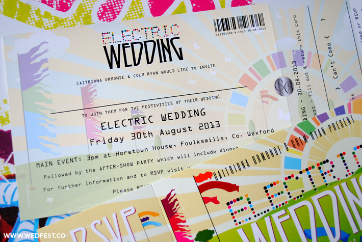 wedfest festival electric wedding invitation