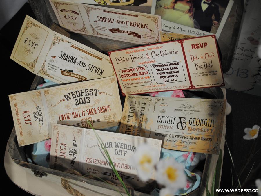vintage shabby chic festival wedding invites