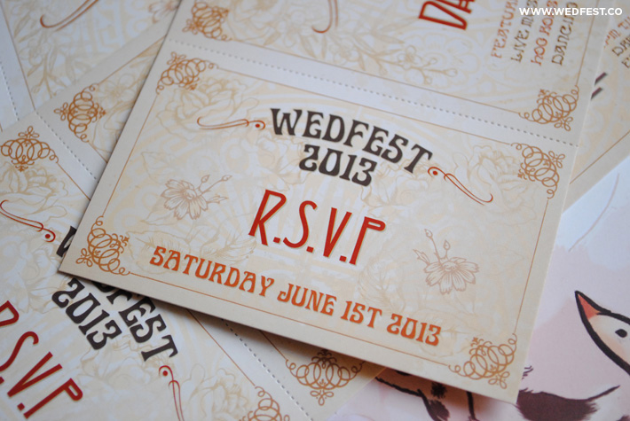 wedfest vintage chic wedding invites