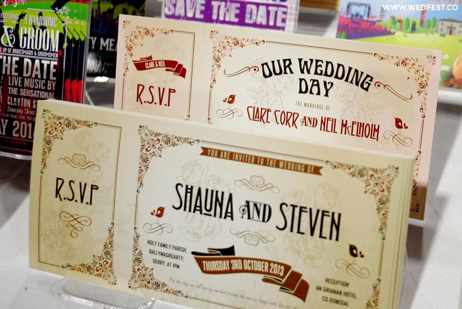 wedfest vintage chic wedding ticket invitations